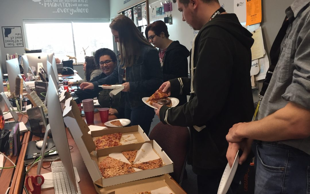 Pizza party for Riverside Tulsa Tech